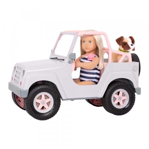 OG - Grauer Jeep mit Surfbrett