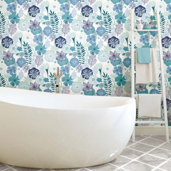 PEEL & STICK Wallpaper - Blütentraum Blau