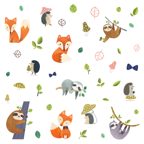 FOREST FRIENDS PEEL AND STICK WALL DECALS