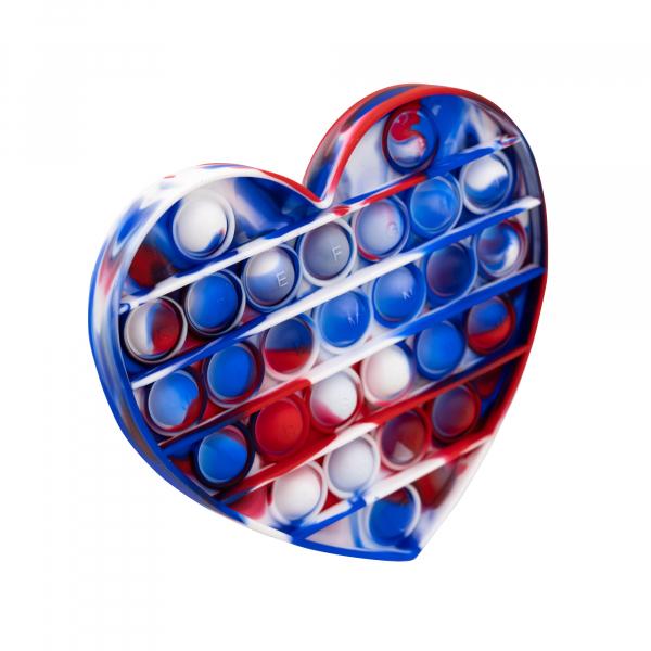 Bubble Fidget - Herz marble rot-weiß-blau