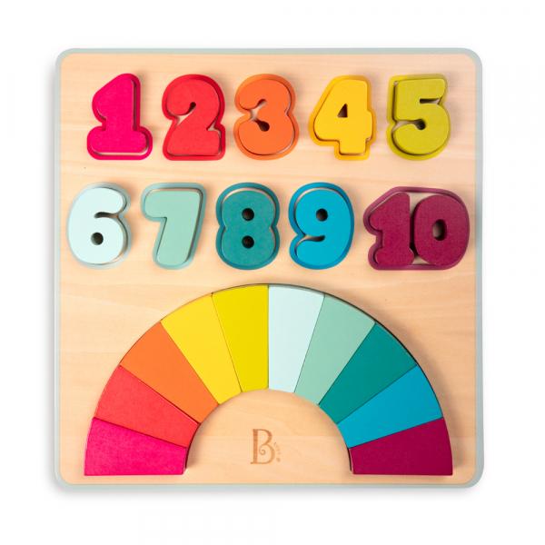 B. Zahlen-Regenbogen aus Holz