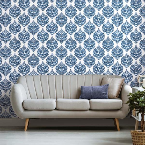 PEEL & STICK Wallpaper - Hygge Farn Damast Blau