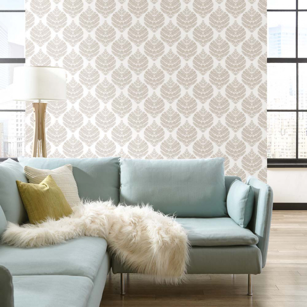 PEEL & STICK Wallpaper - Hygge Farn Damast Taupe