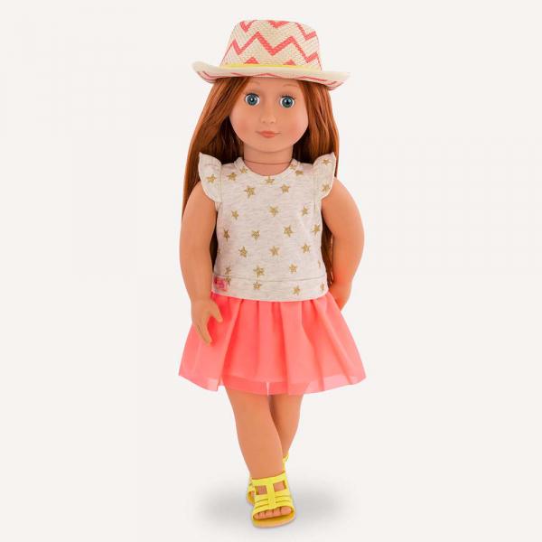 OG - Puppe Clementine mit Sternchenkleid und Hut 46cm