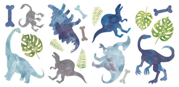 WATERCOLOR DINOSAUR PEEL AND STICK WALL DECALS