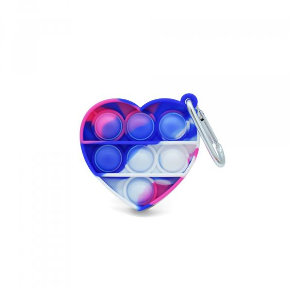Bubble Fidget Mini - Herz marble pink-weiß-blau