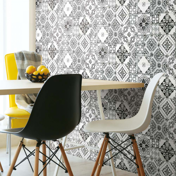 PEEL & STICK Wallpaper - Mediterrane Fliesen Schwarz