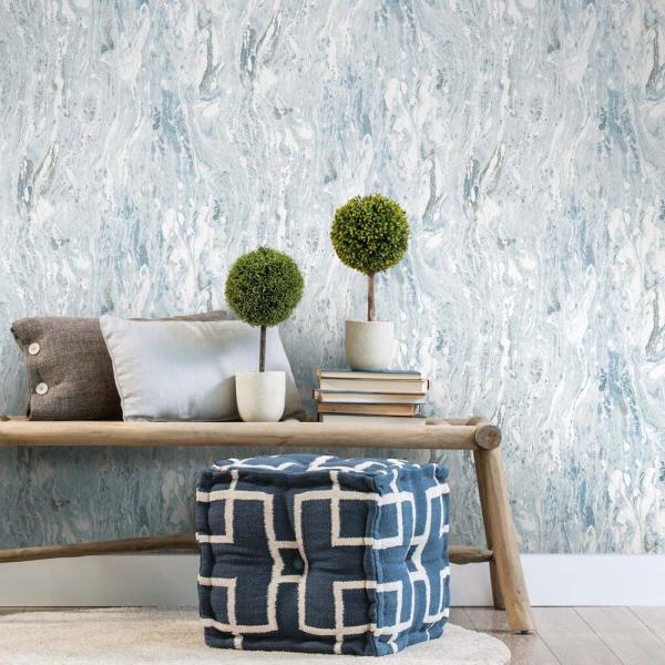 PEEL & STICK Wallpaper - Marmor Meer Blau