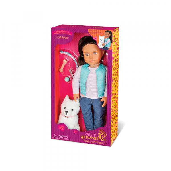 OG - Puppe Cassie mit Samojede Hund